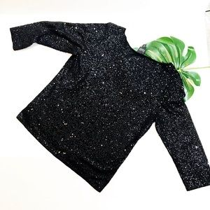 Eileen Fisher Sequin 3/4 Sleeve Knit Top